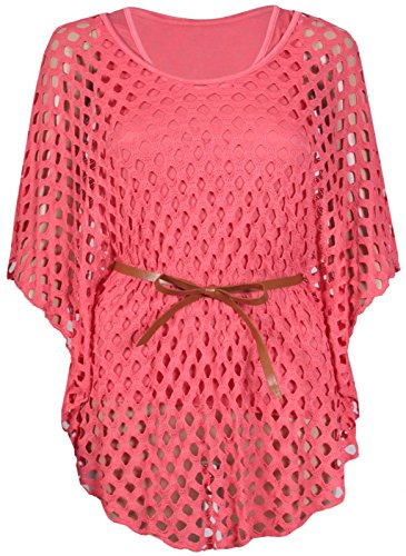 Belt Batwing (NEW WOMENS LADIES PLUS SIZE BATWING SLEEVE CROCHET BELT TIE MESH VEST TOP 12-26)