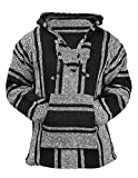 Mexican Baja Hoodie Hippie Surf Poncho Sweater Sweatshirt Pullover Jerga (X-Large, Black/White)