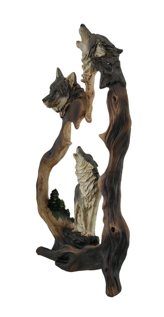 Zeckos Howling Mountain Wolves Cutout Statue