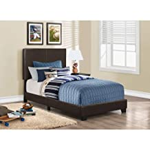 Monarch Specialties I 5910T Bed with Leather Look Fabric, Twin, Dark Brown