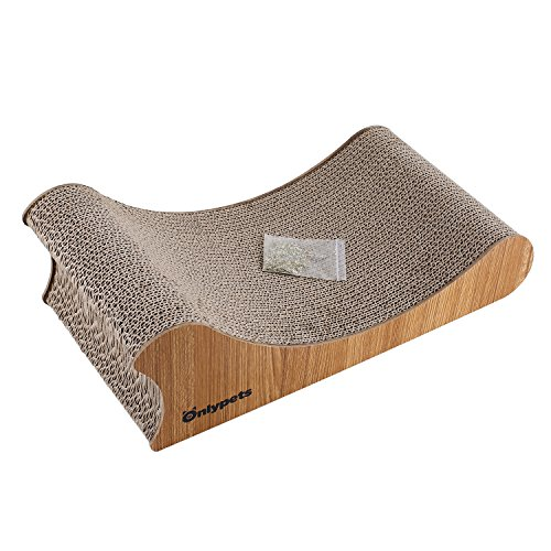 Onlypets Cat Scratcher with Catnip Wooden Sides Gift for Kittens Cat Scratching Post Size: 17.32