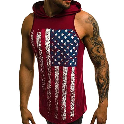 iYYVV Mens Hooded American Flag Printed Sport Vest Cotton Large Open-Forked Male Vest Red ()