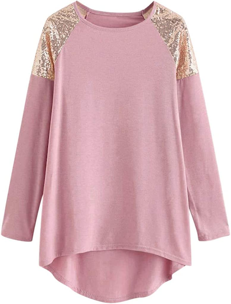 RUIVE Women/'s Patchwork Sequin Blouse Crew Neck Pullover Long Sleeve Casual Loose Hem Ladies Large Size Tops