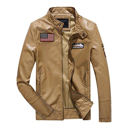 H.T.Niao Jacket8930C3 Men's Fashion Leisure Collar PU Leather(Khaki,Size - India Prizm