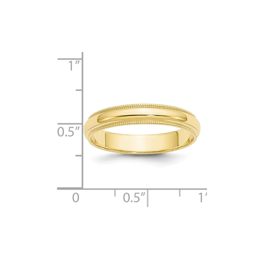 Jewel Tie 10k Yellow Gold 4mm Milgrain Half Round Wedding Band