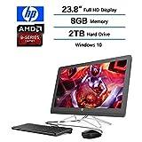 2018 HP 24 23.8'' FHD IPS WLED All-in-One Desktop Computer, AMD A9-9400 Processor 2.40GHz, 8GB DDR4, 2TB HDD, Bluetooth 4.2 M.2, USB 3.0, HDMI, DVD, 802.11ac, Windows 10