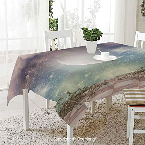 BeeMeng Large dustproof Waterproof Tablecloth,Family Table Decoration,Mystic Decor,Fantasy Landscape Stars Milky Way Half Moon Over The Sky View from Balcony,Turquoise Purple,70 x 104 inches