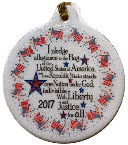 Patriotic Rhinestone (Pledge of Allegiance 2017 Porcelain Ornament USA Patriotic Rhinestone)