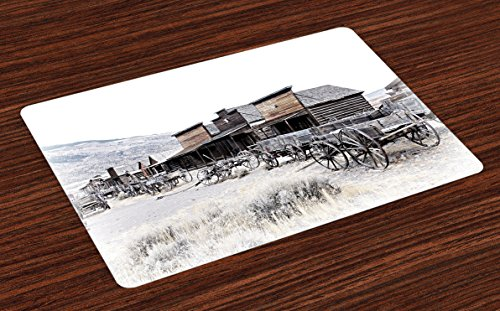 Ambesonne Western Place Mats Set of 4, Old Wooden Wagons from 20's in Ghost Town Antique Wyoming Wheels Artwork Print, Washable Fabric Placemats for Dining Table, Standard Size, White Gray
