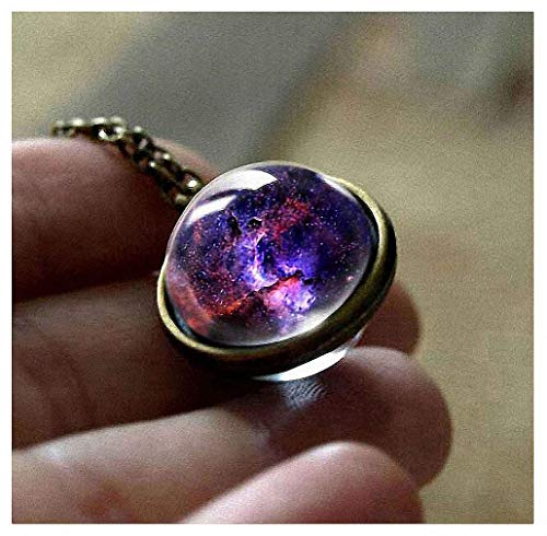 Womens Pendant Necklaces New Nebula Galaxy Double Sided Pendant Outer Space Necklace Universe Silver Jewelry Glass Art Picture Handmade Necklace 7