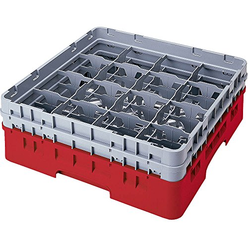 Cambro 16 Comp. Glass Rack, Full Size, 6-7/8'' H Max. Cranberry 16S638-416 by Cambro