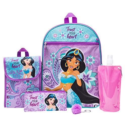 Disney's Aladdin Backpack Combo Set - Disney Aladdin Girls' 6 Piece Backpack Set - Jasmine Backpack & Lunch Kit (Teal/Pink)