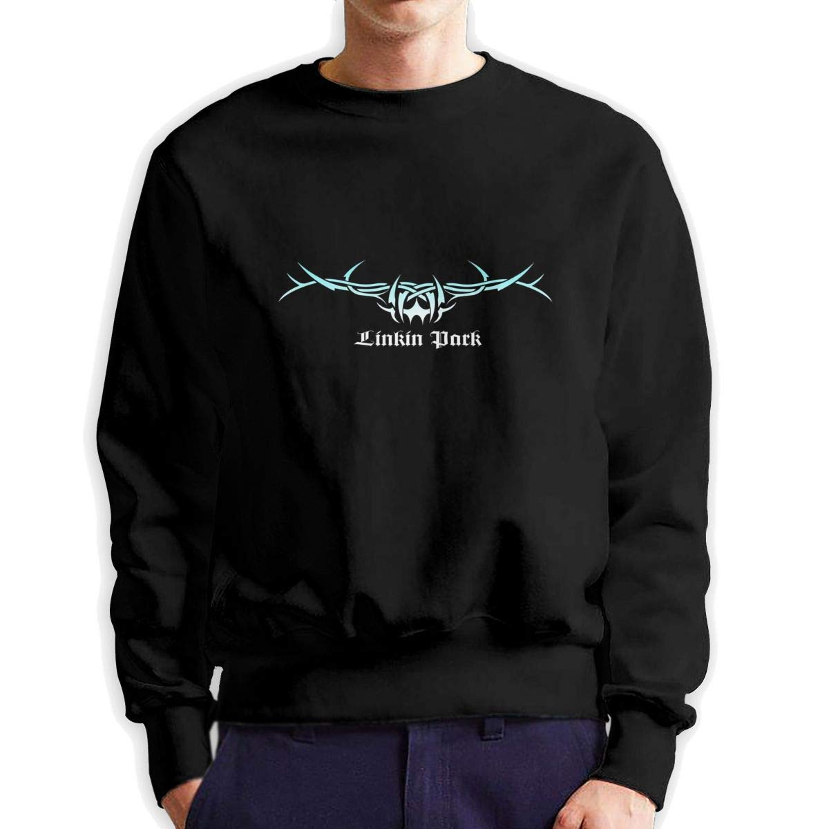 Lin-kin Rock Park Men's Sweater Shirt Pullover Long Sleeve for Boy Men Unique Cozy Crew Neck 3D Printed Hoodies Tops Black
