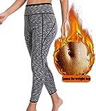 LANFEI Womens Sauna Pants High Waist Slimming Hot Sweat Workout Neoprene Leggings for Weight Loss