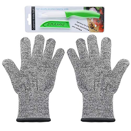 - Cut Resistant Gloves, Level 5 Professional Grade Protection Food Grade, Kitchen Tools - Safety Kitchen Glove for Slicing Meat, Oyster Shucking, Fish Fillet & Wood Carving, FREE Ceramic Knife (Large)