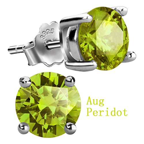sterling silver stud gem earrings - 4