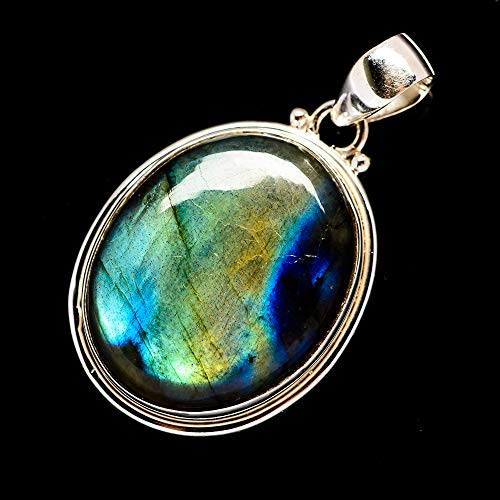 "Labradorite Pendant 1 1/2"" (925 Sterling Silver) - Handmade Boho Vintage Jewelry PD683951 from Ana Silver"