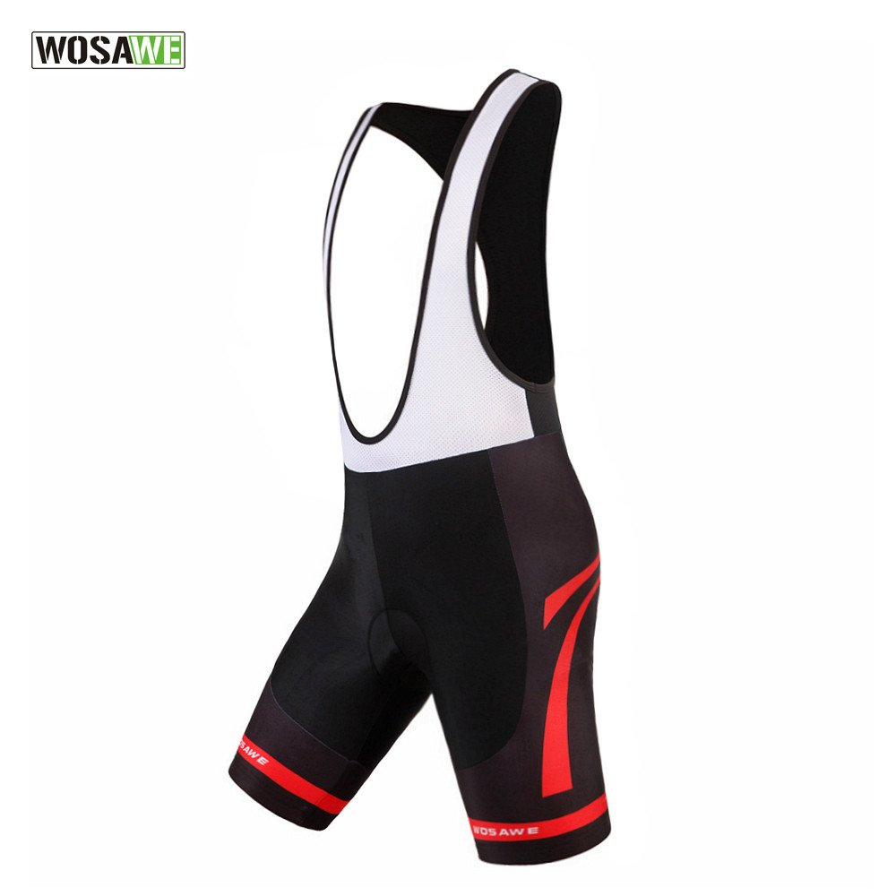 WOSAWE Men's 4D Gel Padded Cycling Bib Shorts Breathable Quick Dry Lightweight Black/White