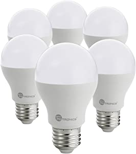 TaoTronics A19 LED Light Bulbs 60 Watt Equivalent, 3000K (Soft White), 810 Lumens, 25000+ Hours Lifespan, No Flicker, Non-Dimmable - Pack of 6
