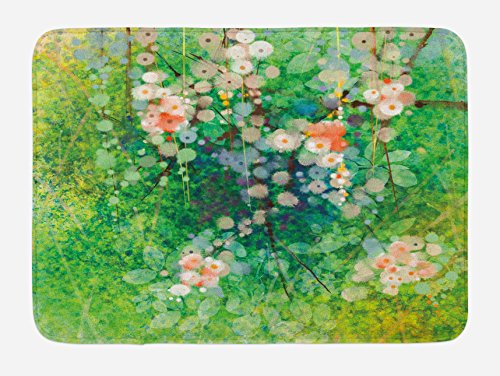 Lunarable Flower Bath Mat, Apple Blossoms on Grass with Splashes Grace Sign Elements from Nature Artwork Print, Plush Bathroom Decor Mat with Non Slip Backing, 29.5