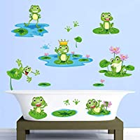decalmile Cute Frog Wall Stickers Pond Lotus Kids Wall Decals Baby Nursery Childrens Bedroom Bathroom Wall Decor