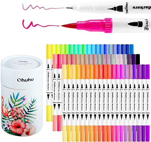 Ohuhu Art Markers Dual Tips Coloring Brush Fineliner Color Pens, 60 Colors of Water Based Marker for Calligraphy Drawing Sketching Coloring Book Bullet Journal Art Valentine