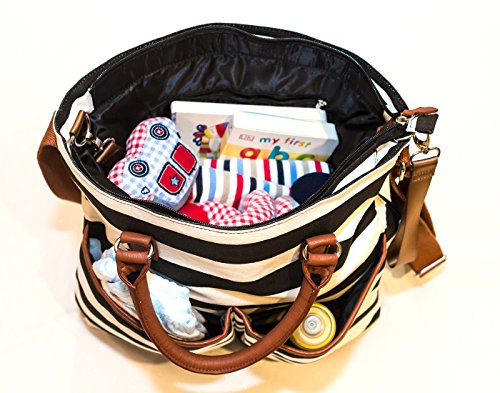 1d0cdd661d25d Diaper Bag by Hip Cub - Baby Changing Pad - Black White Stripe W Cute Tan  Trim - Buy Online in UAE.