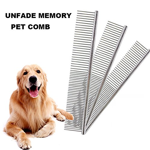 Unfade Memory Pet Stainless Steel Grooming Comb, Pet Grooming Comb for Dogs Cats 7-1/2 Inch