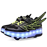 edv0d2v266 Kids Shoes USB Charger LED Light Sneakers Kids Wheel Shoes with Wing Boys Girls Leisure Sneakers School Gift(Black 2 2wheels 4.5 M US Big Kid = EU 37)