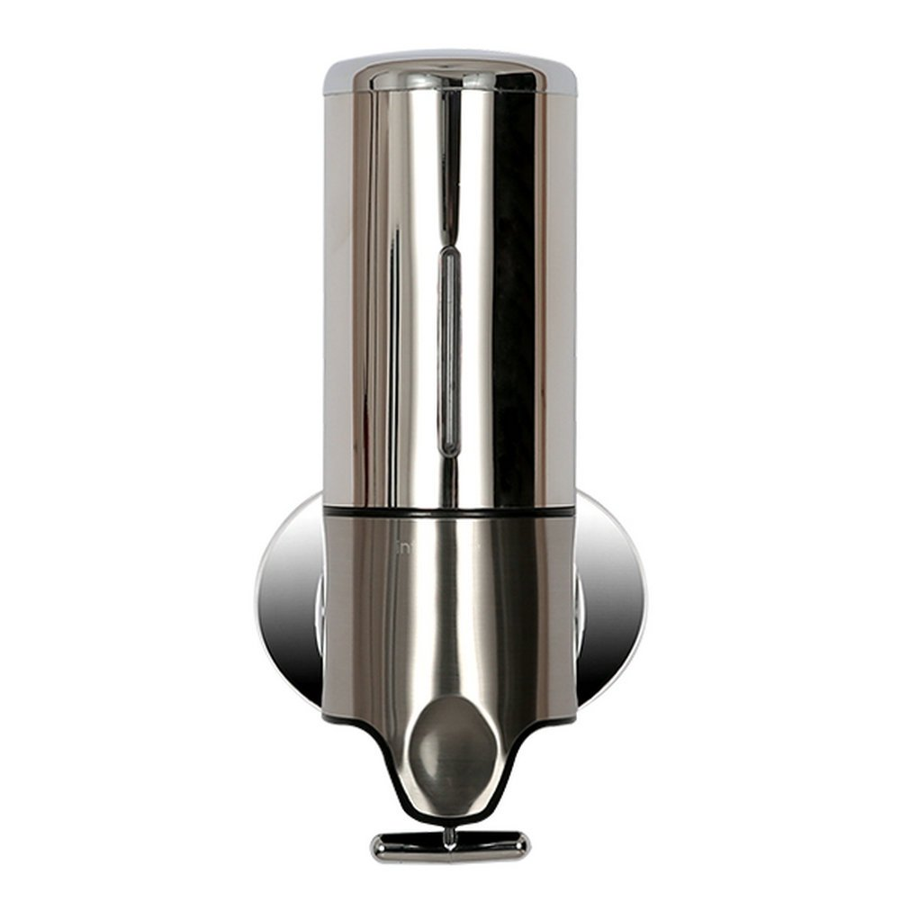 Angelbubbles 500ML Dispensador de jabón (para jabón, champú y gel) Alta calidad de acero inoxidable y plástico dispensador soporte de pared (Metal): ...
