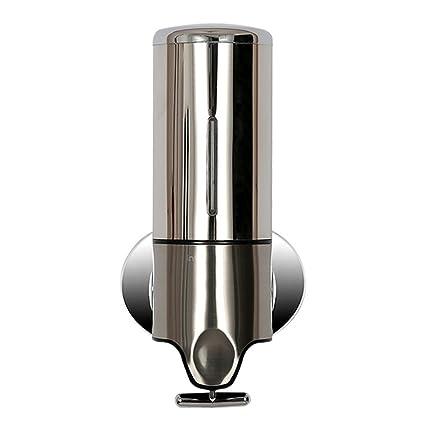 Angelbubbles 500ML Dispensador de jabón (para jabón, champú y gel) Alta calidad de acero inoxidable y plástico dispensador soporte de pared (Metal)