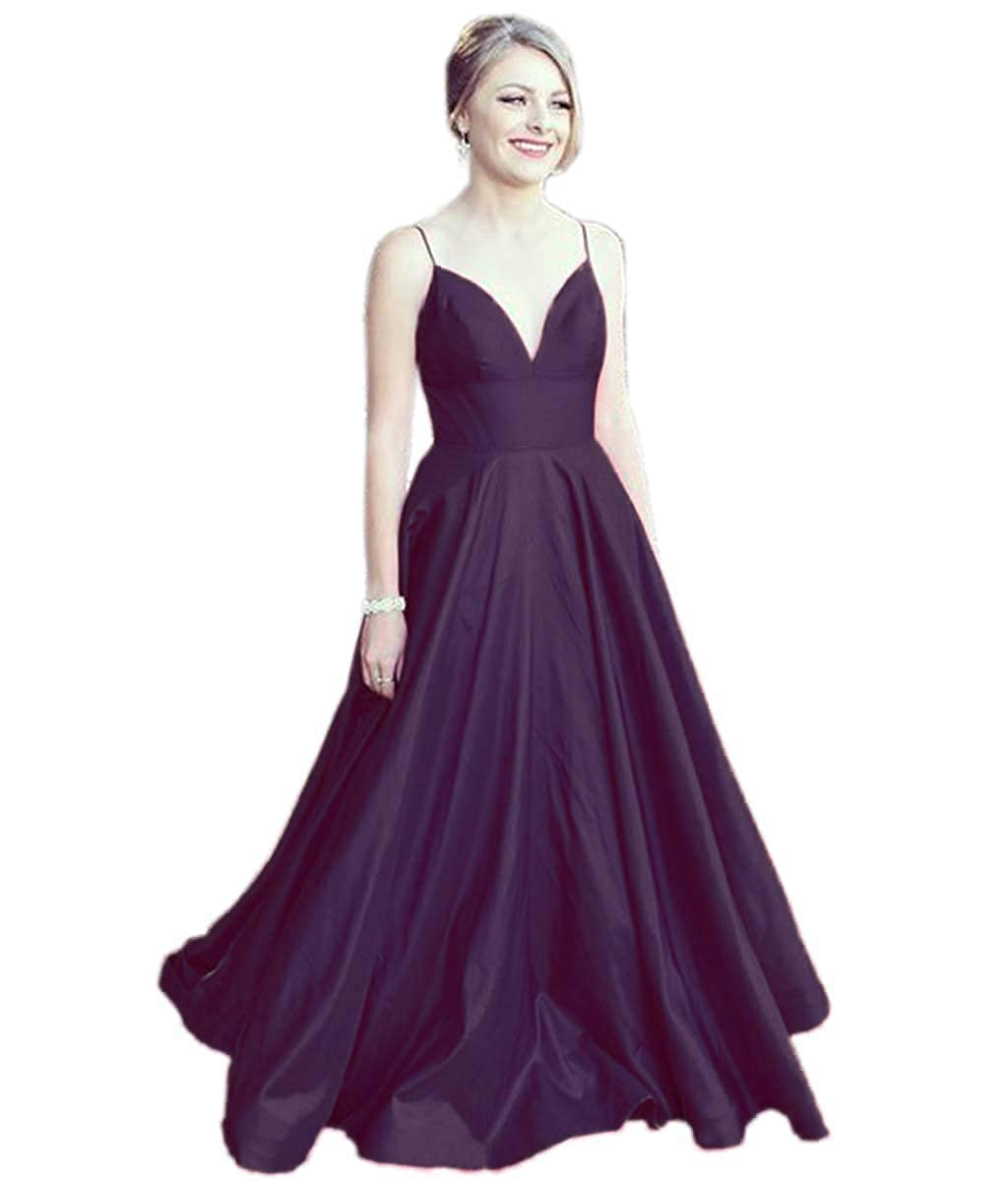 Grape Mauwey Women's Long Spaghetti Straps Satin Ball Gown Prom Dresses with Pockets