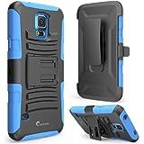 i blason samsung galaxy s4 mini - i-Blason Samsung Galaxy S5 Mini Case [SM-G800]- Prime Series Dual Layer Holster Case with Kickstand and Locking Belt Swivel Clip (Blue)