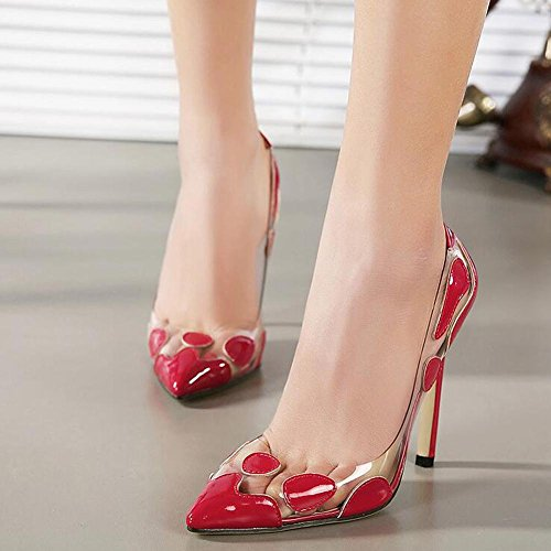 L Fight Heels Shoes and Dance Wedding Women Shallow Comfortable High Red Mouth YC Transparent Color Elegant rCqrI
