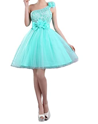 Evangeline tulle a-line ivory lace bow front one shoulder short prom dresses light green
