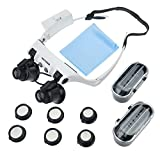 YOCTOSUN Head Wearing Watch Repair Magnifying Glass Double Eye LED Lighted Jeweler Glasses Magnifier 10x 15x 20x 25x