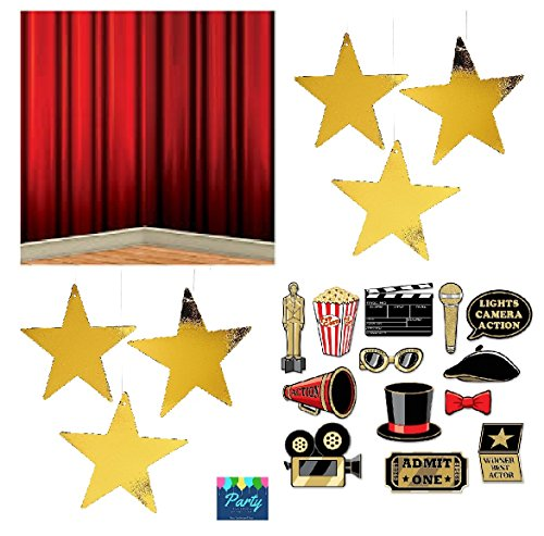 FAKKOS Design Hollywood Red Carpet Awards Ceremony Party Theme Supplies and Decorating Pack - 3 Items - Glitter Photo Props, Red Curtain Back Drop And 24 Gold Metallic Hanging Stars by FAKKOS Design