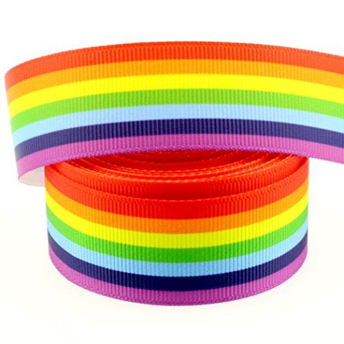 (Midi Ribbon 10 Yards 1 Inch Bright Rainbow Color Print Grosgrain Ribbon for Hair Bow Hair Clip Accessories Collar DIY Supplies)