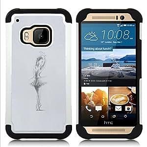 """HTC One M9 /M9s / One Hima - 3 en 1 impreso colorido de Altas Prestaciones PC Funda chaqueta Negro cubierta gel silicona suave (Bailarín de la bailarina Gris Carbón Sketch"""")"""