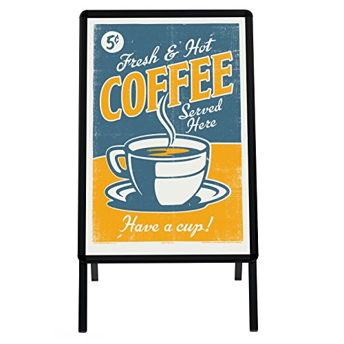 (SnapeZo Black Sidewalk Sign A Board 24x36 Inches, Double-sided Water-Resistant Quick Change Snap Frame, 1.25