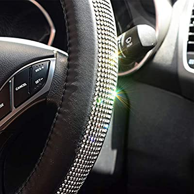 FEENM Steering Wheel Cover Bling Bling Rhinestones Crystals Car Handcraft Steering Wheel Covers Leather for Girls Black: Automotive
