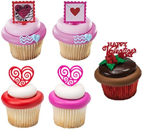 Valentines Day Cupcake Topper Picks - Scroll Hearts, Love Letter and Word Picks- 24 count