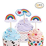 Hangnuo 24 Set Cupcake Toppers for Kids Birthday Baby Shower Wedding, Party Favor Cake Decoration, Rainbow