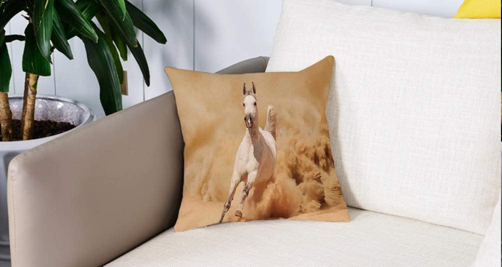 Square Soft and Cozy Pillow Covers,Caballos, Raza de Caballo Árabe Huyendo del Desierto Tormenta Arena Cola Alta Criatura Naturale,Funda para Decorar Sofá Dormitorio Decoración Funda de almohada.