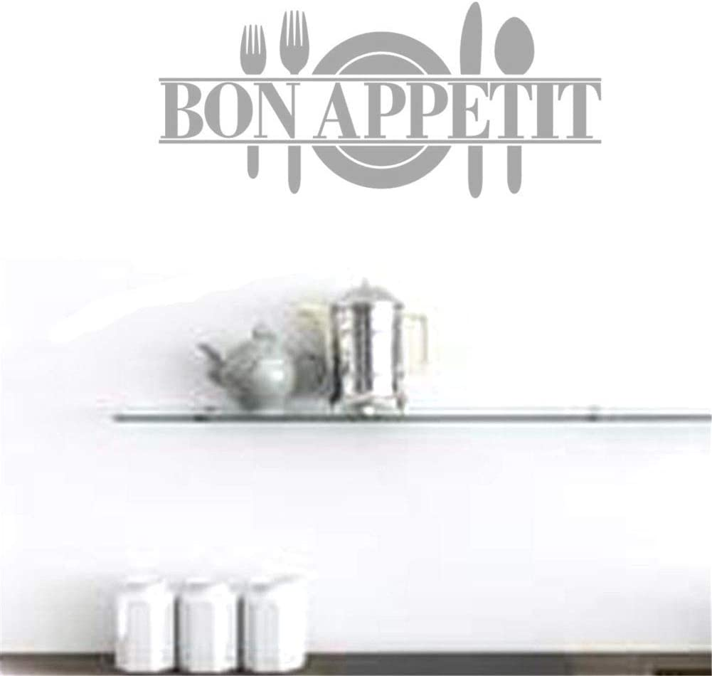 BIBITIME Bon Appetit Vinyl Kitchen Lettering Wall Sayings Home Decor Art Sticker Wall Stickers Dining Room Kitchen Living Room Decor (90X37.5CM, Grey)