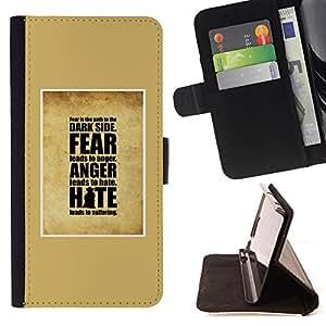BullDog Case - FOR/HTC One M8 / - / yellow hate anger fear inspiring god /- Monedero de cuero de la PU Llevar cubierta de la caja con el ID Credit Card Slots Flip funda de cuer