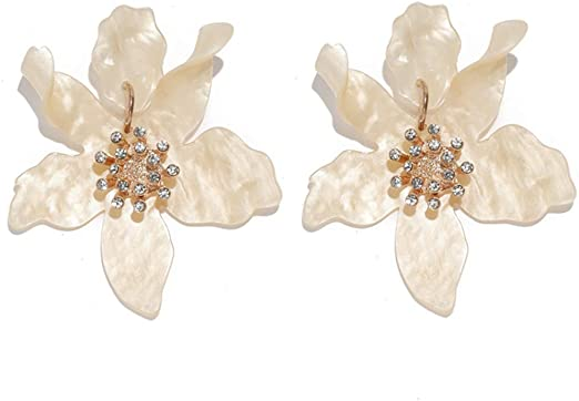 Multi-Color Flower Earrings Hand Painted Flower Earrings Summer Earrings Boho Dangle Earrings Vintage Style Flower Earrings