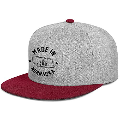 FPPING Made in Nebraska Printed Novelty Flat Bill Baseball Hat Breathable Unisex Trucker Cap