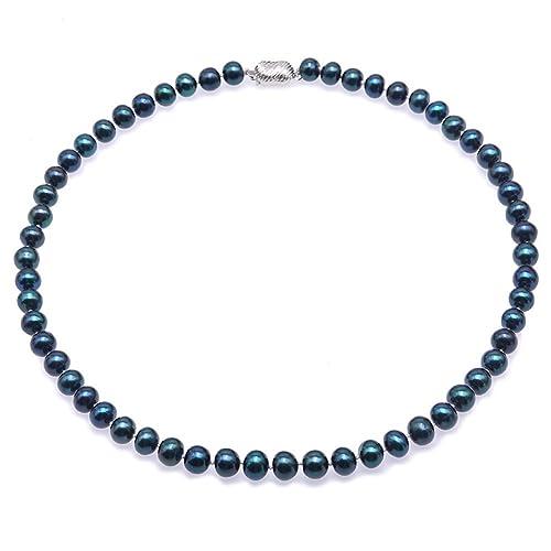 JYX Collar de perlas Collar de perlas cultivadas de agua dulce azul marino de 8-
