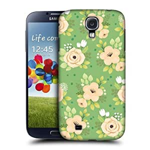 AIYAYA Samsung Case Designs Green Floral Whimsical Flowers Protective Snap-on Hard Back Case Cover for Samsung Galaxy S4 I9500